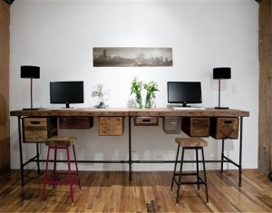 Reclaimed wood 2 joint table desks