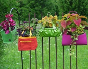 Recycled Purse Garden Decor