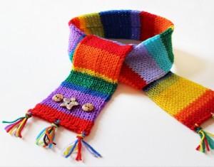 Upcycled Fabrics into Toddlers Rainbow