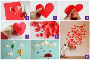 DIY Hearts for Wall Decor Made from Recycled Paper