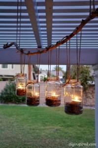 DIY Patio Mason Jars Chandelier'