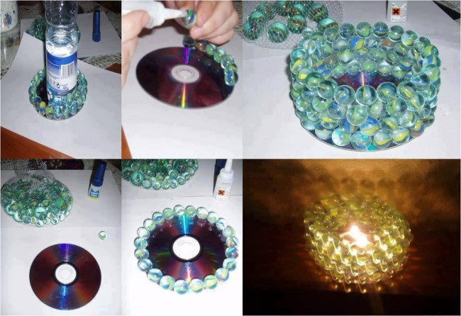 DIY Recycled CD Candle Holder
