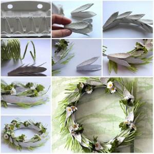 DIY Recycled Egg Carton Wreath Craft