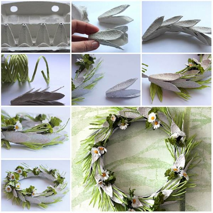 DIY Recycled Egg Carton Wreath Craft