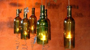 DIY Recycled Wine Bottles Hanging Candle Holders