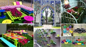 Garden Decorating with Recycled Items