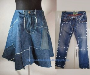 Old Blue Jeans into Fashionable Skirt