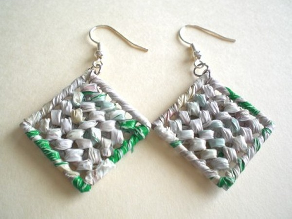 Recycle Plastic Bags Earrings