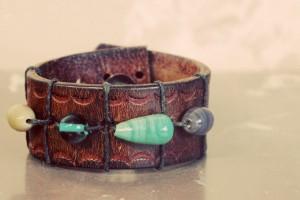Recycled Belt with Beads Jewelry Bracelet