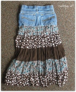 Recycled Blue Jeans into Skirt