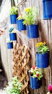 Recycled Blue Tin Cans Planter Decoration