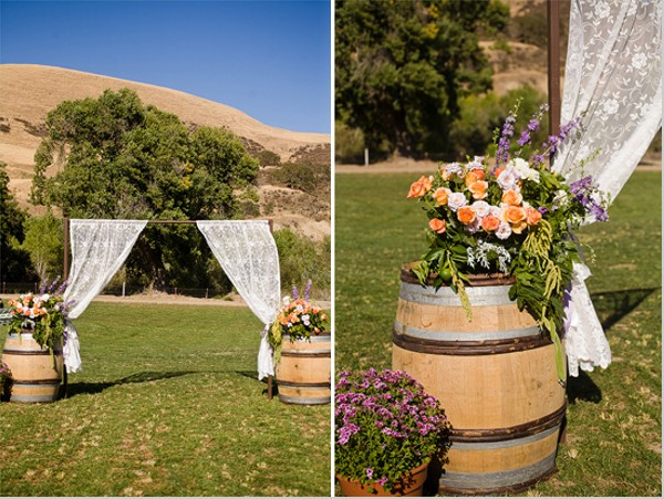 Recycled Drums with Flowers for Wedding Decor