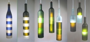 Recycled Glass Bottles Modern Lamp