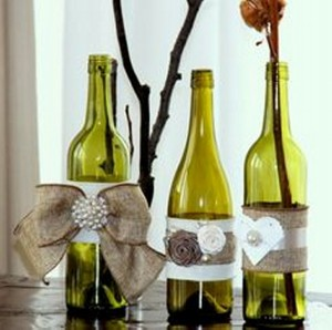 Recycled Glass Bottles for Wedding Decor