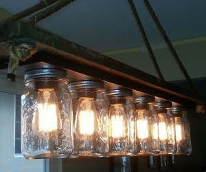 Recycled Mason Jars into Chandelier