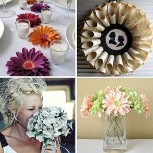 Recycled Paper Flowers for Wedding