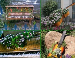 Recycled Piano and Guitar Garden Decor