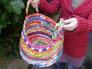 Recycled Plastic Bag Beautiful Basket