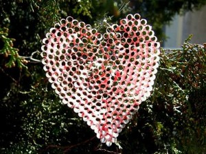 Recycled Plastic Straws Heart for Decor on Christmas Day