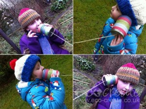 Recycled Tin Cans Kid Crafts Telephone