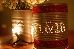 Recycled Tin Cans for Wedding Decorations
