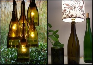 Recycled Wine Glass Bottles Lamp