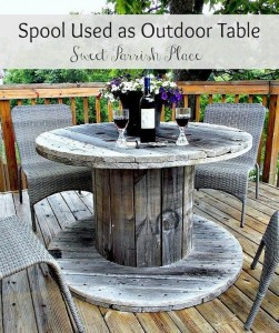 Recycled Wooden Spool Table for Patio