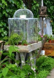 Repurposed Bird Cages Garden Decor