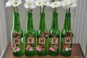 Repurposed Glass Bottles Decorating