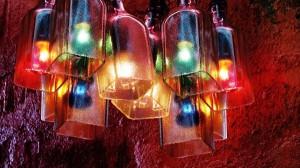 Repurposed Glass Bottles Decorating Lamp