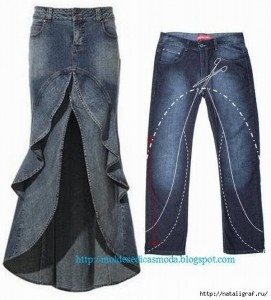 Repurposed Old Blue Jeans into Awesome Skirt