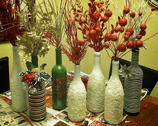 Repurposed Vine Bottles Decorating