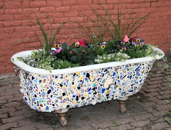 Upcycled Bathtub Garden Planter