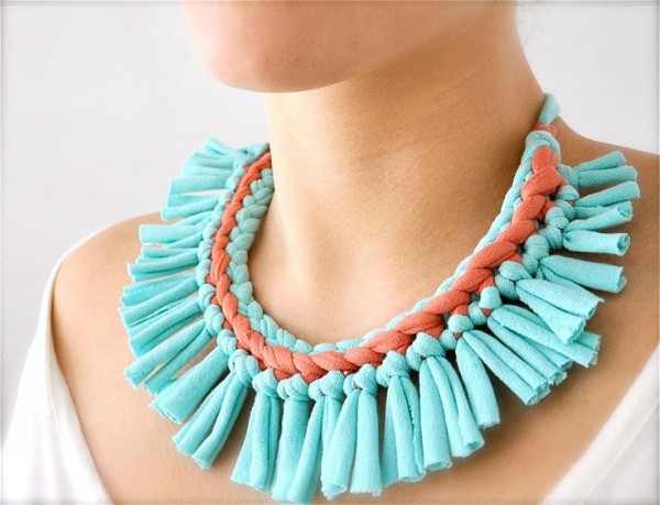 Upcycled Fabrics Elegant Jewelry Necklace