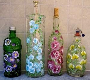 Upcycled Glass Bottles Decorating