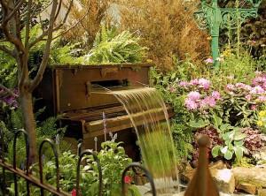 Upcycled Piano Fountain Decor Idea