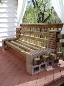 Concrete Blocks Patio Bench
