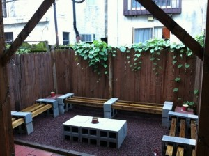 Concrete Blocks Upcycled Benches