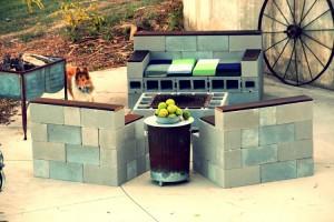 Concrete Blocks Upcycled Patio Sofa