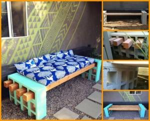 DIY Concrete Blocks Patio Furniture