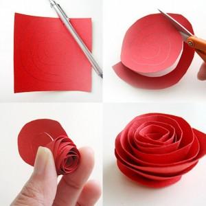 DIY Paper Red Flower