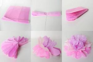 DIY Pink Tissue Paper Flower
