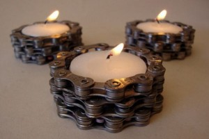 Recycled Bike Chain Candle Holder