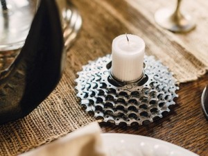 Recycled Bike Part Candle Holder