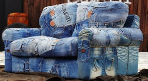 Recycled Blue Denim Jeans Sofa Cover