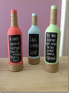 Recycled Colorful Wine Bottles
