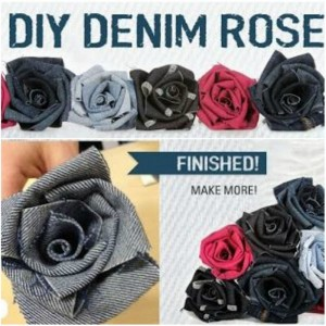Recycled Denim Jeans Roses
