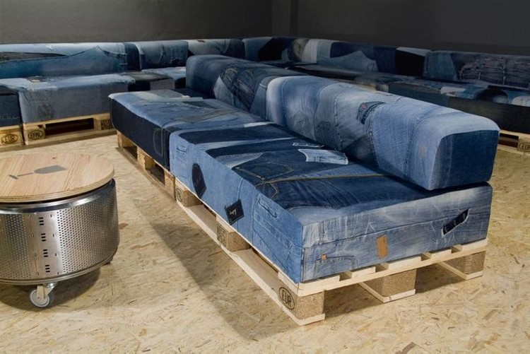Recycled Denim Jeans Sofa Cover