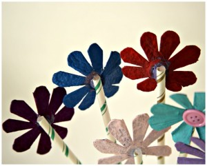 Recycled Egg Carton Flowers