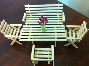 Recycled Ice Cream Stick Mini Table & Chairs for Kids